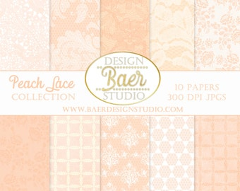 DIGITAL PAPER VINTAGE: Peach Digital Paper, Peach Lace Digital Background Paper, Lace Digital Paper, Digital Scrapbook Paper, #16185