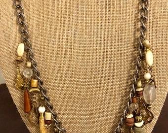 Vintage Necklace with many unique dangles hanging!  Unique jewelry - Vintage jewelry - Art Deco - BoHo