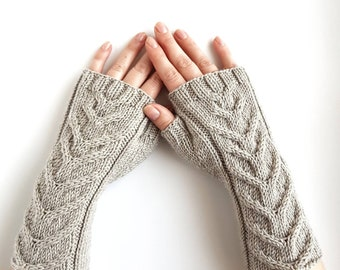 Grey fingerless gloves, cable knit merino mitts, hand knit arm warmers,knitted hand warmers, winter gloves, women's mittens