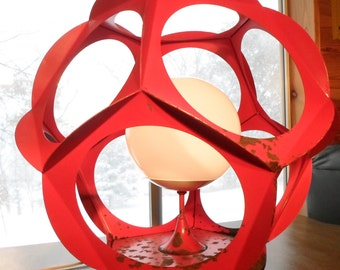Vintage Mid Century Modern Large Red Metal Space Age Orb Table Lamp by Lighting-Accessories Inc Glendale Calif, Eames Era, Mod, Atomic