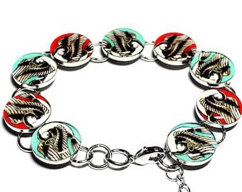 Love Hate Swallow Tattoo Bracelet, Rockabilly, Good and Evil, Birds, Resin Bracelet, Handmade Bracelet, Tattoo Jewelry, Bird Jewelry