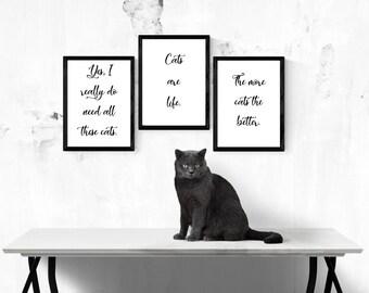 PDF Printable Certificate: Cat Art Set