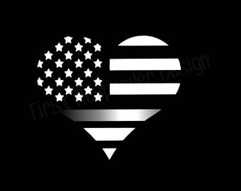 Thin Silver Line, Corrections Officer Decal, Corrections Officer Gifts, Corrections Officer Wife, Corrections Officer Flag, Thin Line Heart