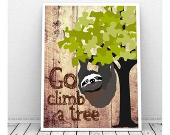 Sloth Art, Sloth Drawing, Rainforest Animals, Rainforest Nursery, Sloth Wall Art, Sloth Gift,Sloth Illustration, Sloth Print, Sloth Wall Art