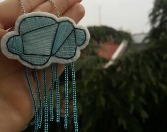 Cloud Felt Necklace, Rainy Cloud
