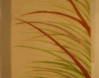 O83 Vintage Japanese Silk Hand Painted Grass on Cream Belt