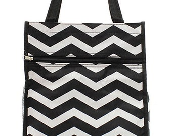 Monogrammed Black Chevron Tote Bag-Small Mongrammed Tote Bag-Personalized Tote Bag-Personalized Gift