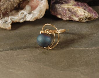 The Ringed Planets Collection - Neptune Ring - Druzy Quartz Agate - Silver - Gold - Artisan Jewelry Inspired by the Cosmos - Size 5 6 7 8 9