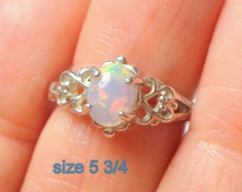 Welo Opal Rings, Small Sizes, Sterling Silver Filigree Settings, Peach, Lavender, Green, Yellow Color Play, Ethiopian Opal Rings
