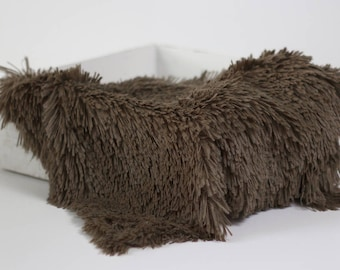 Toffee Brown Pelagio Faux Fur Nest Photography Prop Rug Newborn Baby Toddler 27x30