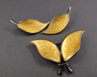 Vintage Willy Winnaess for David Andersen Brooch and Earrings Leaf Set