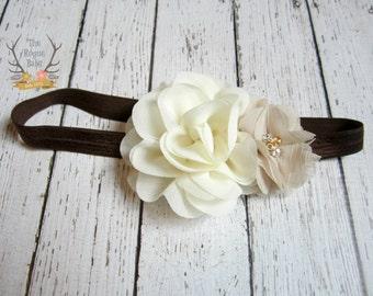 Cream/Ivory Tan and Brown Bridal Headband with Rhinestone Pearl. Rustic Wedding Neutrals  Flower Girl Bride bridesmaid Women