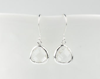 Crystal Silver Earrings, Tiny April Birthstone Silver Earrings, April Birthstone Jewelry, Silver Earrings, Bridal Earrings