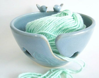 Blue birds, Yarn bowl, Knitting bowl, craft storage, organization, yarn holder,  Handmade ceramic pottery