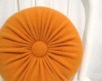 Orange Cashmere Round Throw Pillow Accent Pillow Decorative Couch Cushion Cashmere Wool Sweater Pillow Hostess Gift Housewarming Gift 110