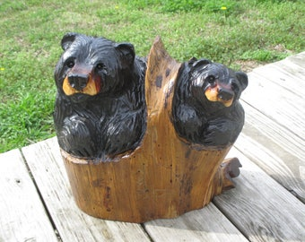"""13"""" Chainsaw carved black bears in a stump, rustic cabin decor"""