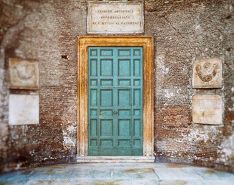 Rome Italy Teal Door Photograph,  Blue and Brown Roman Doorway Brick and Wood Photography, Home Decor, Wall Art, textures- Roman Blue Door