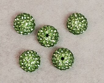 Green Rhinestone Beads, Shamballa Bead, Sparkle Beads, 10 mm, Small Lot, DIY Supplies - 5 pcs