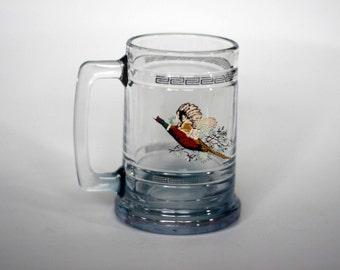 vintage pheasant beer mug with greek key border
