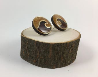 Surfer Studs. Wooden Wave Earrings. Gifts for Her.