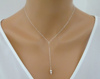 Ball Lariat Necklace, Sterling silver Lariat necklace, Rose fold Y necklace, Ball necklace, Simple Y Necklace, Tiny ball lariat