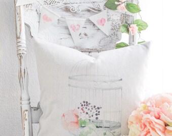 Birdcage Farmhouse Pillow Cover | Spring Farmhouse Pillow Cover | Watercolor Birdcage Throw Pillow | Cottage Style Decor