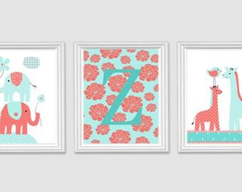 Baby Girl Nursery, Monogram Print, Zoo Nursery, Nursery Wall Art, Elephant Nursery, Giraffe Decor, Girl Room Decor, Nursery Canvas Decor