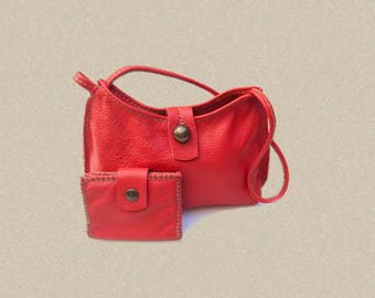 Small red leather bag and wallet