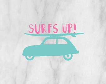 Surfs Up decal / surfing decal / surfing sticker / ocean decal / custom decal / monogram decal / custom sticker / surfboard decal /