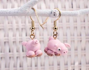 Pig Earrings, Polymer Clay Earrings, Farm Animal Earrings, Curly Tails Earrings, Handmade Clay Pig,Farmer Earrings, Pink Pig Earrings