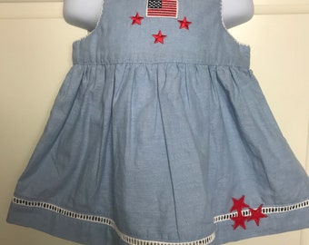 USA Dress 18 months, Fourth of July 18 month dress, American Flag dress free shipping