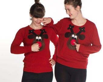 Squeaky Nose Rudolph Ladies Christmas Sweater - Brown Rudolph