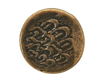 3 Ancien 3/4 inch ( 20 mm ) Metal Buttons Brass Color