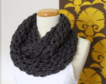 Lace knit infinity scarf in pewter