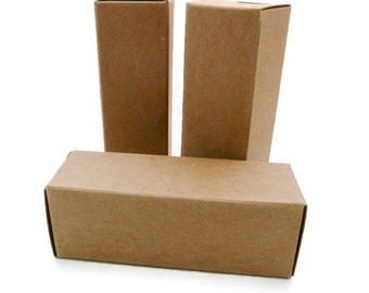 Kraft Boxes - Product Packaging - QTY-25 - Chapstick Box - Kraft Tuck Box - Gift Box - Wedding Favor Box - 1-1/16 in. x 1-1/16 in. x 3 in.
