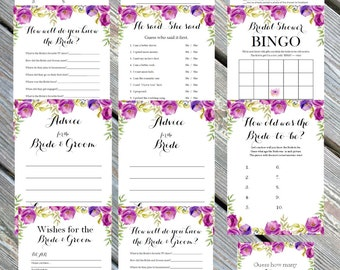 Instant Download- Bridal Bingo, Know the bride, Advice, What's in your phone, Wedding shower game, bridal shower game, purple lavender