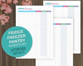 Fridge, Freezer and Pantry Inventory Checklist, Meal Planning, Kitchen Inventory Printable, Kitchen Organizer, Grocery List, Letter Size