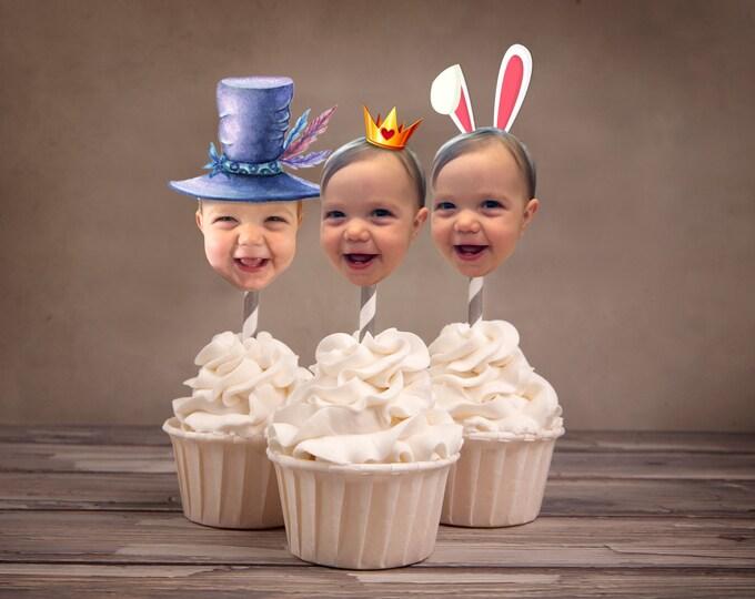 Photo cupcake topper / Mad Hatter Tea Party, Alice in Wonderland Invitation /  Birthday Invitation / Printable party decor
