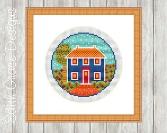 Cross Stitch Pattern - Country Cottage - Folk Art - Embroidery Design - Modern Cross Stitch Pattern - Counted Cross Stitch Pattern