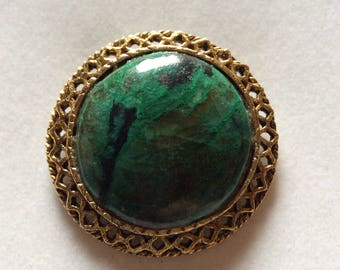 Brooch with Large Green Stone