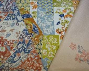 Vintage Japanese silk kimono fabric pack for craftwork patchwork quilting VP8