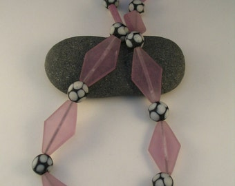 Lavender Diamond & Polka Dot Resin Bead Necklace with Sterling Magnetic Clasp