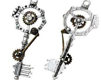 Steampunk Key with rhinestone - Sold Individually - #MP122