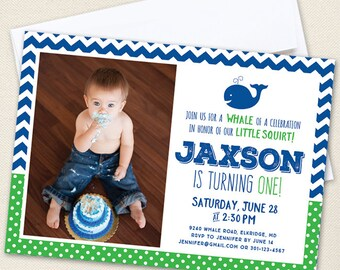 Whale Party Photo Invitations - Professionally printed *or* DIY printable