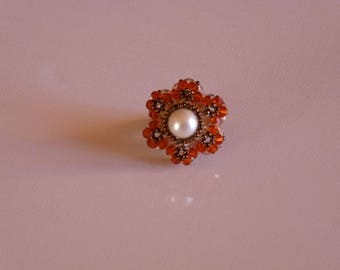 RING orange heart SWAROVSKI CRYSTAL beads
