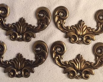 4 Vintage Brass Cabinet Handle Backplates Chippendale Furniture Batwing NEW