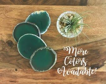 Green Agate Coaster Set- Agate Slice, Stone Coasters, Agate Decor, Agate Geode, Geode Coasters, Gift for Mom, black friday sale