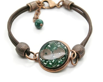 Orgone Energy Bracelet - Leather Friendship Bracelet - Copper & Malachite Gemstone - Celebrity Gift - Artisan Jewelry