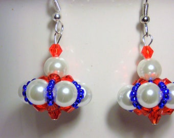 Red, White & Blue Earrings, Independence Day Earrings, Labor Day Earrings, Memorial Day Earrings, Ladies Earrings, Gifts For Her