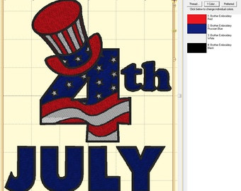 4th of July Independence Day Full Embroidery Digital Design ~ Embroidery Design INSTANT DOWNLOAD ~ 4x4, 5x7, and 6x10 Sizes